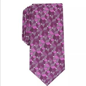 Mens Alfani Berry Mooring Geometric Silk Neck Tie